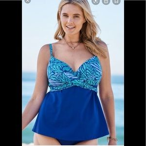 NWT Swimsuits for All Tankini Blue Leaf Bra Sz 46C